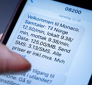 LES DENNE: Når du kommer til et nytt land skal operatøren din sende informasjon om hvor mye det koster å roame der. Les den nøye, for det kan skjule seg høye priser. Foto: Ole Petter Baugerød Stokke