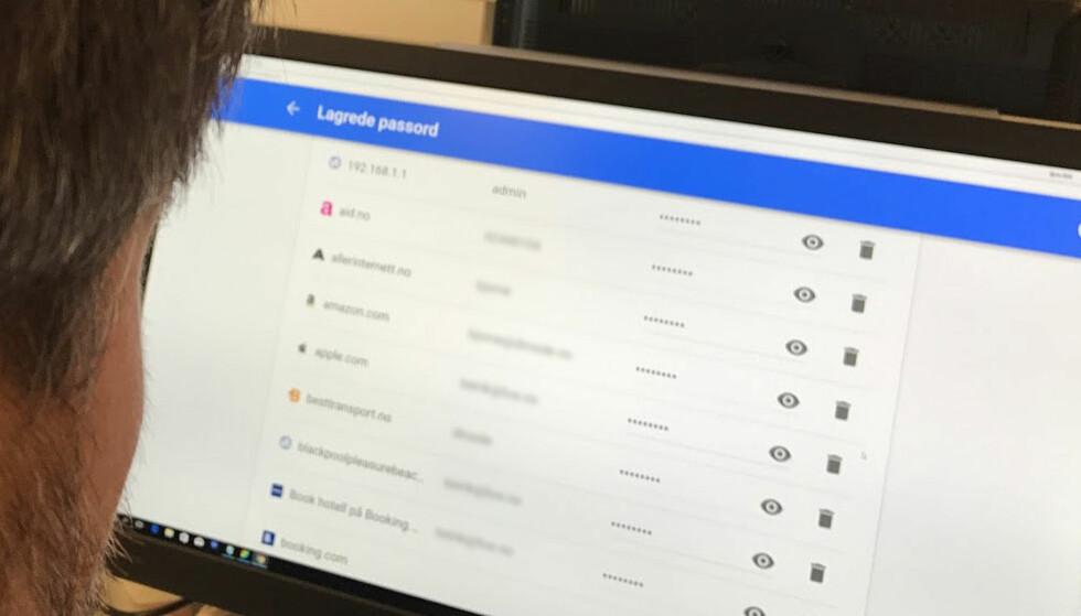 EKSTREMT SÅRBART: Bruker du ikke to-trinns pålogging, ligger alle passordene dine svært lagelig til for uinnvidde. De trenger ikke engang tilgang til mobilen eller PC-en din. Foto: Bjørn Eirik Loftås