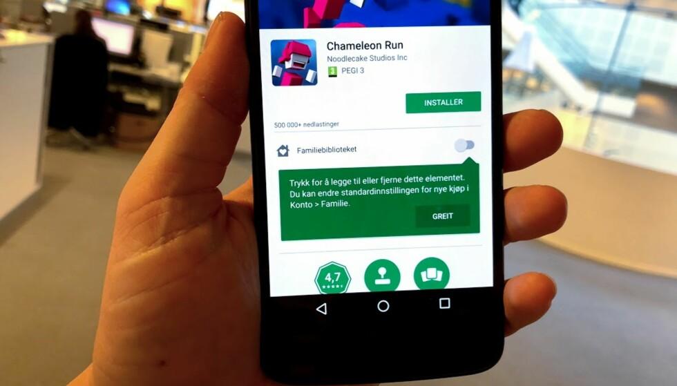 ENDELIG: Apple har hatt det en stund, og nå kan også Android-brukere dele app-kjøp og den slags innad i familien. Foto: Pål Joakim Pollen