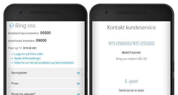 HAR RYDDA OPP: Telenor.no før sommeren til venstre, Telenor.no nå til venstre. De oppgir nå ingen femsifrede nummer på nettsidene. Foto: Ole Petter Baugerød Stokke