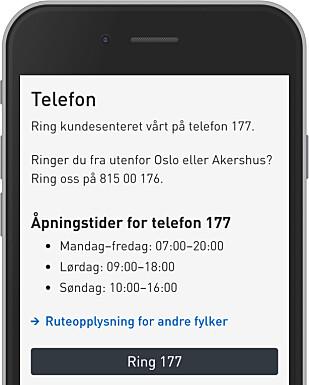IKKE LOV: Her ser du Ruter.no mandag ettermiddag. Deres nummer 177 koster penger å ringe til, og de lover at et nytt nummer er rundt hjørnet. Foto: Ole Petter Baugerød Stokke