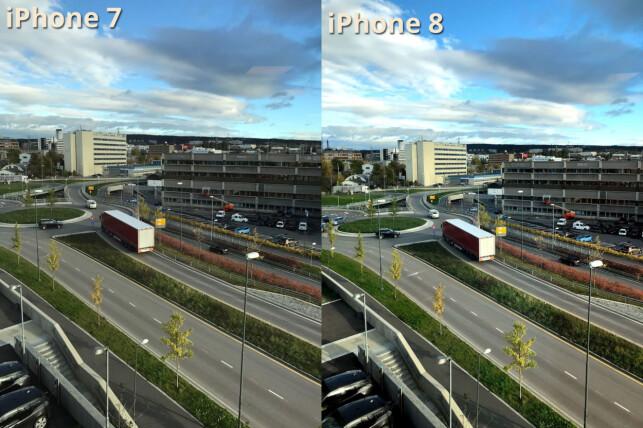 MER TRØKK: Bildet fra iPhone 8 har litt mer trøkk i fargene, men sjekk hvordan økt kontrast har ført til at detaljer er blitt borte i noen av skyene. Foto: Bjørn Eirik Loftås