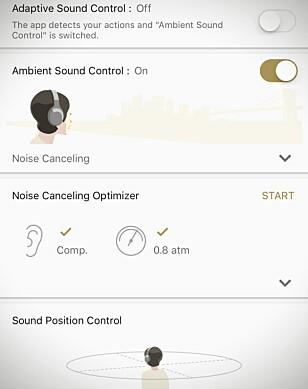 Her har vi kalibrert hodetelefonene ombord på flyet, og siden det kun er 0,8 atm trykk, kompenserer de slik at støyreduksjonen blir bittelitt bedre. Skjermdump: Pål Joakim Pollen