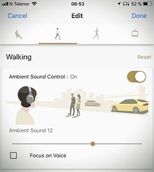 VELG SELV: Via appen kan du selv regulere hvordan støyreduksjonen skal utføres under ulike aktiviteter. Skjermdump: Pål Joakim Pollen