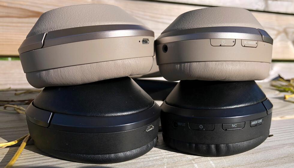ÉN KNAPP BORTE: På WH-1000XM2 har Sony kombinert funksjonaliteten i to av knappene, slik at antallet er redusert fra tre til to. Foto: Pål Joakim Pollen
