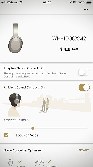 FULL KONTROLL: Sonys app er lett å bruke, og lar deg justere på det meste. Foto: Pål Joakim Pollen