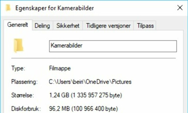 BEVISET: Denne mappen består av 1,24 GB med filer, men opptar bare 96 MB av den lokale lagringsplassen. Skjermdump: Dinside