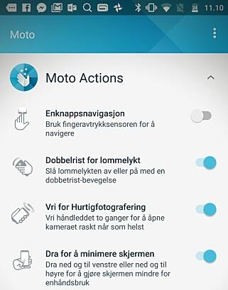 SNARVEIER: Motorolas Android-utgave er ganske lik Google sin, men med noen smarte ekstrafunksjoner. Foto: Pål Joakim Pollen