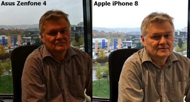 HDR: Til tross for at HDR er aktivert, er Tore undereksponert, mens bakgrunnen er ganske korrekt. Til høyre samme utsnitt tatt med en iPhone 8. Foto: Bjørn Eirik Loftås