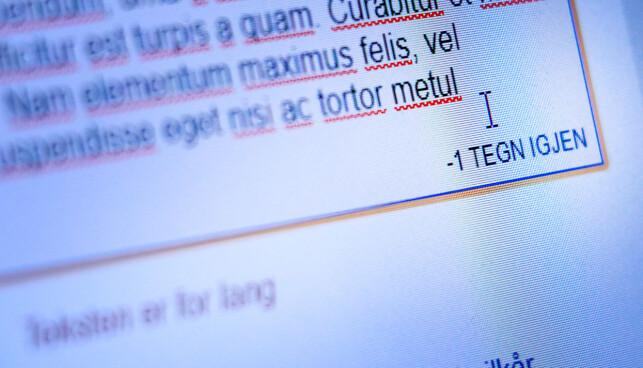 TWITTER PÅ NAV: Under boksen hvor du skriver meldingene telles antall tegn. Går du over, får du bare beskjeden «teksten er for lang». Foto: Ole Petter Baugerød Stokke