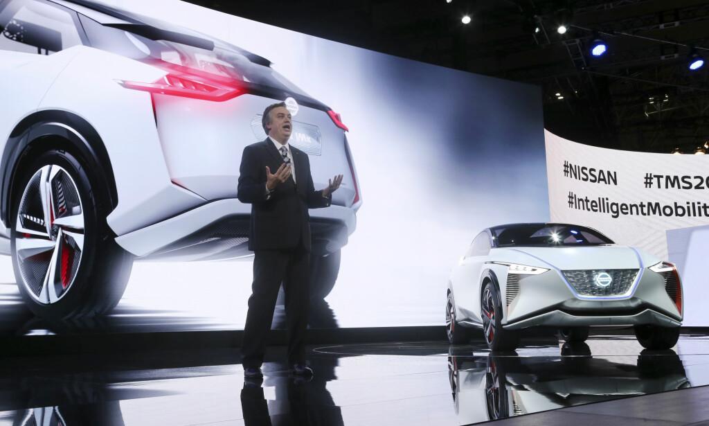AVDUKET: Nissans nye kosept-elbil, Nissan IMx, ble vist fram under Japan Motor Show i Tokyo, onsdag. Foto: