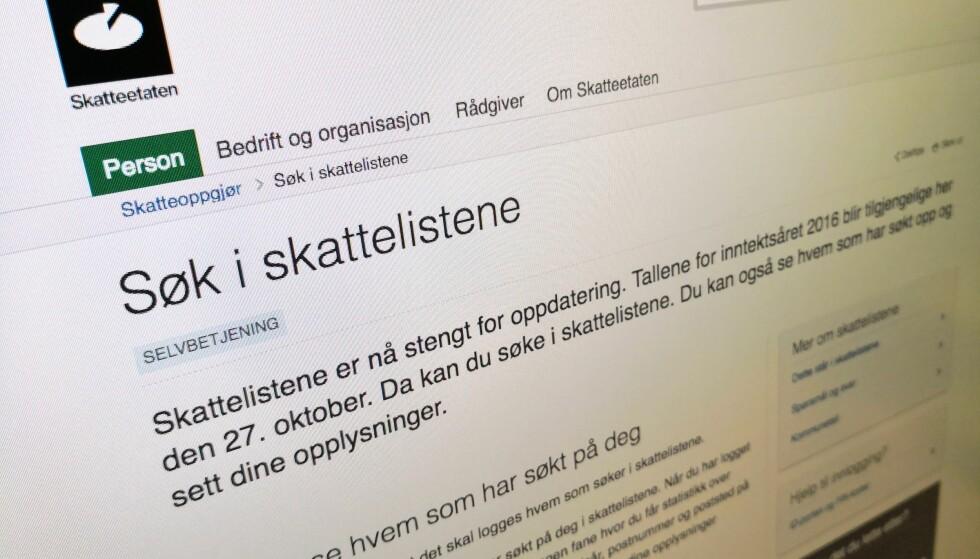 ÅPNER FREDAG: Fra 27. oktober kan du søke i skattelistene for 2016, men husk at de du søker etter kan se at du har søkt. Foto: Pål Joakim Pollen