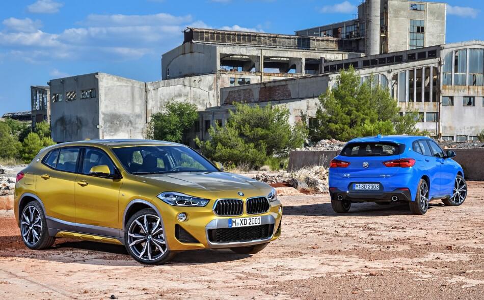GLA-KONKURRENT: Til tross for tallet 2 etter X-en, er X2 en mindre bil enn X1, spesielt er den lavere. Den konkurrerer temmelig direkte med Mercedes-Benz GLA som har en lignende profil. Foto: BMW