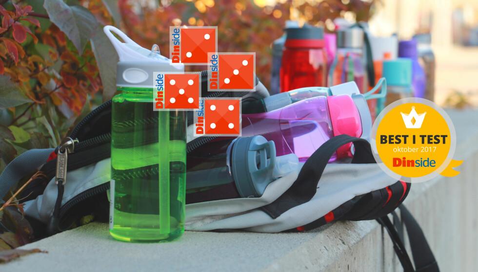 TEST AV DRIKKEFLASKER: Kun seks av 15 drikkeflasker er tette - og én sprekker når vi mister den i gulvet. Foto: Kristin Sørdal