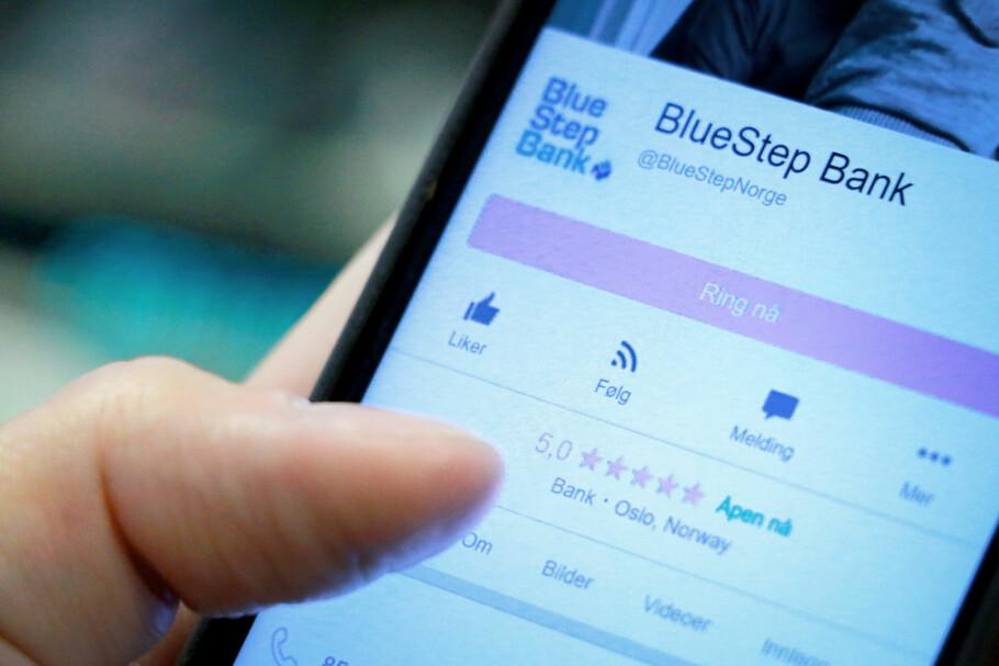 RANGERTE SEG SELV: BlueStep Bank hadde fem anmeldelser på Facebook. Alle disse fem ga fem av fem stjerner. Snittet ble dermed 5,0 stjerner. Men alle stjernene var gitt av bankens ansatte og partnere. Foto: Ole Petter Baugerød Stokke