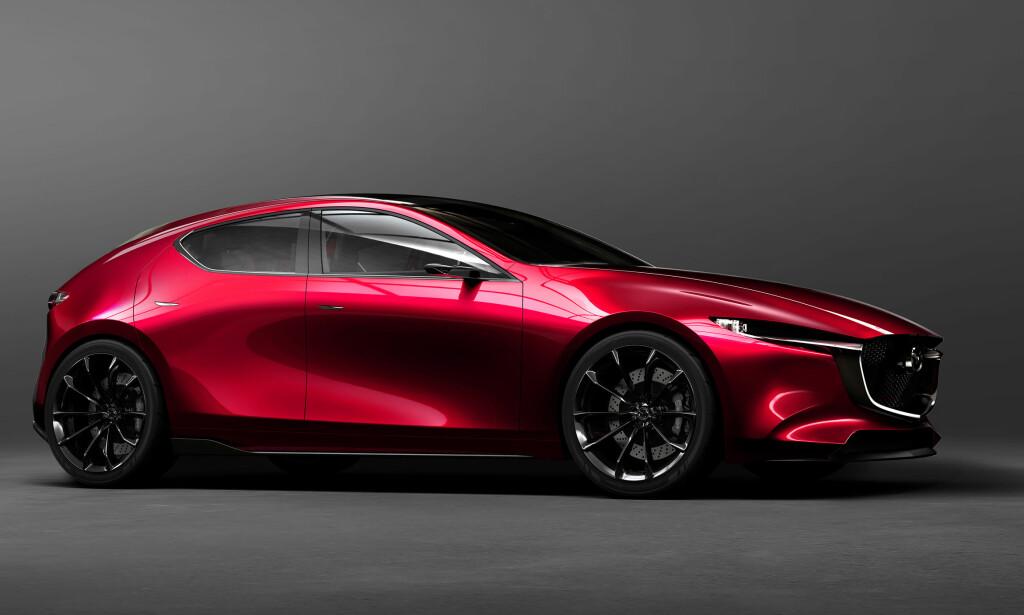 BLIR NESTE MAZDA 3 (?): Mazda Kai Concept integrerer den fornyede tolkningen av designfilosofien Kodo, som ble introdusert i 2010. Neste 3 vil høyst sannsynlig få mange av disse stilelementene. Foto: Mazda