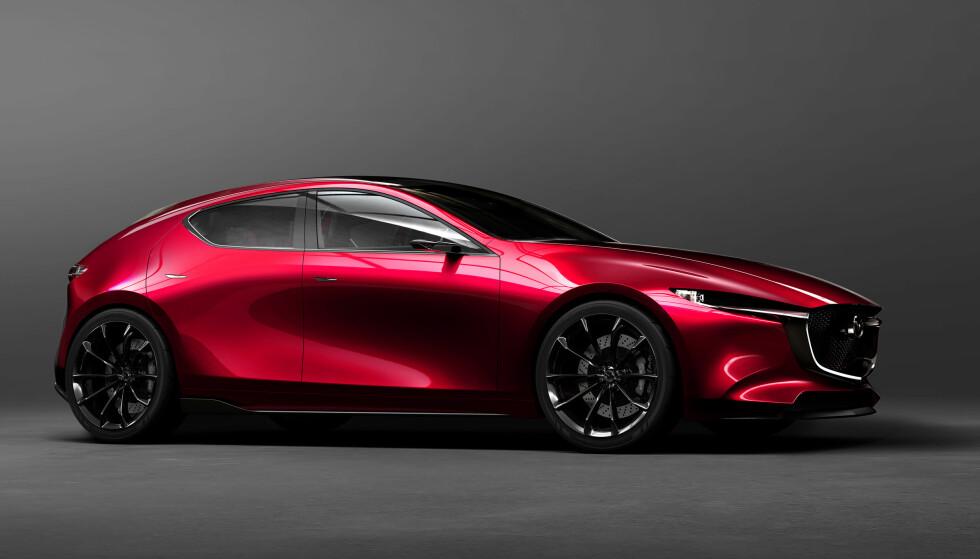 <strong>BLIR NESTE MAZDA 3 (?):</strong> Mazda Kai Concept integrerer den fornyede tolkningen av designfilosofien Kodo, som ble introdusert i 2010. Neste 3 vil høyst sannsynlig få mange av disse stilelementene. Foto: Mazda