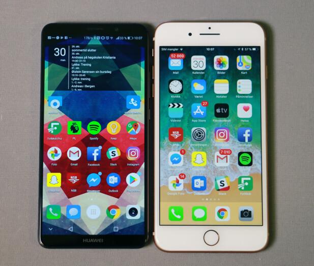 <strong>IKKE <i>SÅ</i> STOR:</strong> Selv om skjermarealet er drøye 11 prosent større på Huawei Mate 10 Pro, er den både lavere og smalere enn iPhone 8 Plus. Tykkelsen er 0,4mm ekstra, men batteriet har nesten 50 prosent høyere kapasitet. Foto: Pål Joakim Pollen