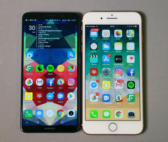 IKKE SÅ STOR: Selv om skjermarealet er drøye 11 prosent større på Huawei Mate 10 Pro, er den både lavere og smalere enn iPhone 8 Plus. Tykkelsen er 0,4mm ekstra, men batteriet har nesten 50 prosent høyere kapasitet. Foto: Pål Joakim Pollen