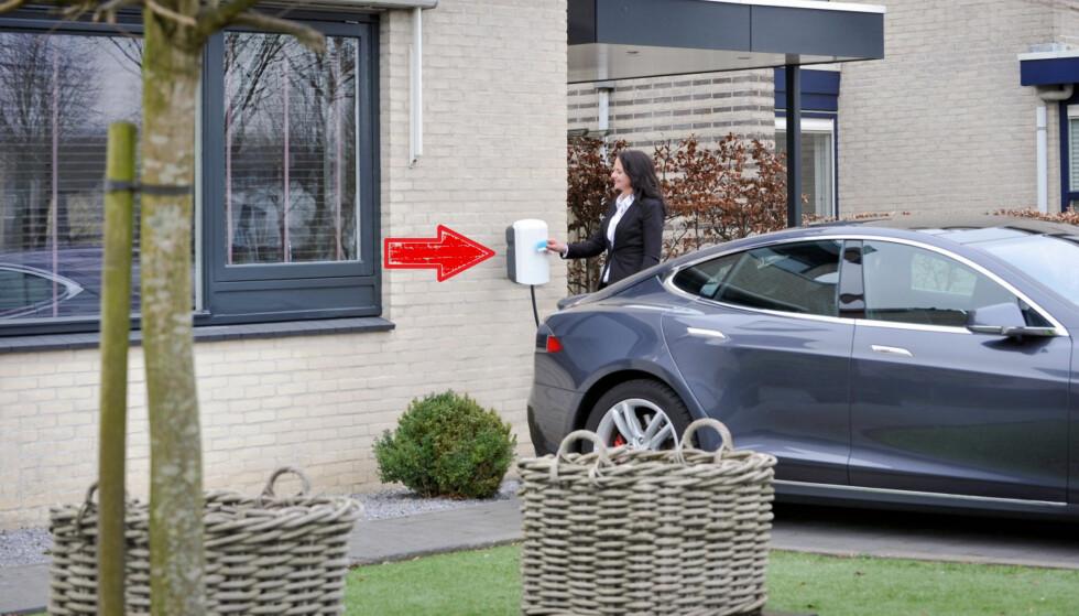 LETTERE: Skal du selge bolig i et område der mange har elbil, er det et pluss å ha fast lader installert. Foto: ICU Alfen Charging Equipment