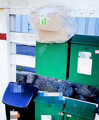 LIGGENDE: Her er en PostNord-pakke lagt oppå postkassa. Dette skal være et brudd på rutinene. Foto: Irlin Hornstuen