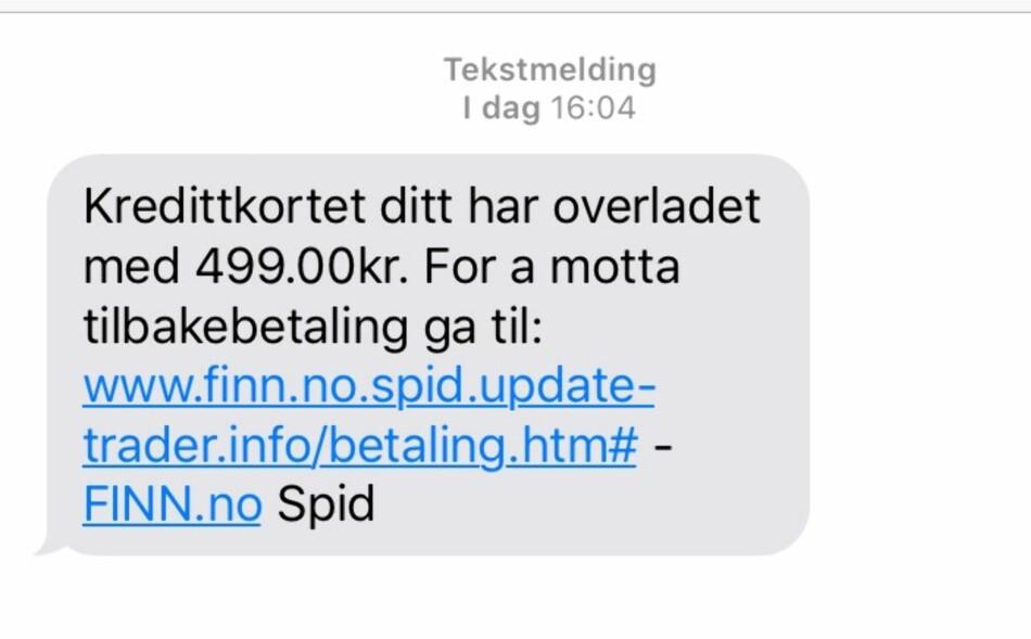FALSK MELDING: Disse SMS-ene mottok fler forbrukere søndag. Det er svindlere som står bak. Foto: Finn.no.