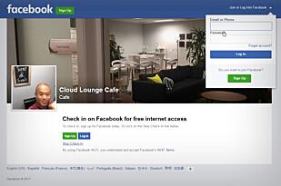 SJEKK INN, LOGG INN: Facebook Wifi fungerer sånn at brukerne må sjekke eller logge seg inn på Facebook for å bruke det trådløse nettet. Dermed skjer det også en utlevering av data til Facebook, som Datatilsynet mener de ikk har lov til. Skjermdump: Youtube/NETGEARChannel