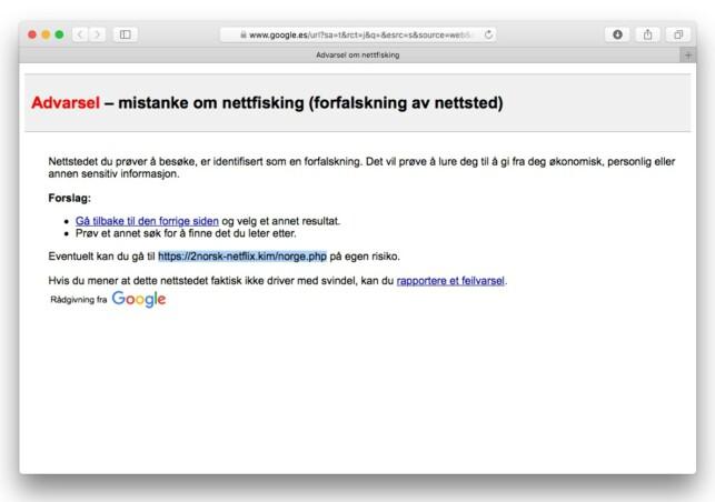 GOOGLE STOPPER DET: Når vi klikker oss inn på lenken i e-posten, kommer vi ikke lenger enn dette. Heldigvis.
