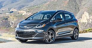 SAMME BIL: Opel Ampera-e er helt lik og laget på samme fabrikk som Chevrolet Bolt (bildet) Foto: Chevrolet
