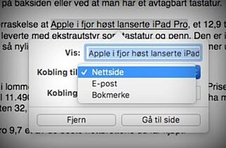 RASKEST MED HURTIGTASTER: Bruk Cmd-K når du skal legge til en kobling i teksten din. Foto: Kirsti Østvang