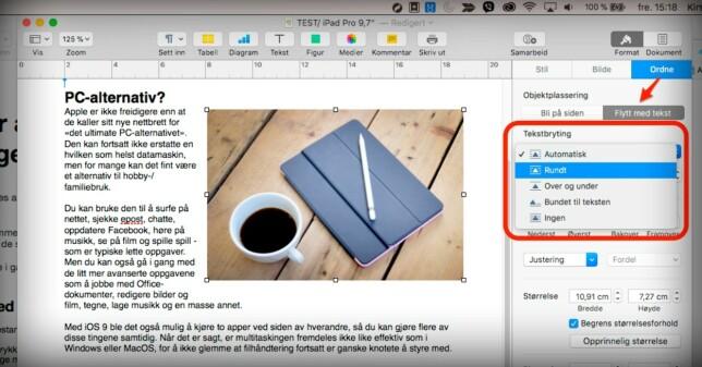 JUSTER BILDER: Du kan klippe et bilde fra en annen kilde og lime det rett inn i Pages-dokumentet ditt, for deretter å justere hvordan det er plassert i teksten din. Som standard havner teksten rundt. Foto: Kirsti Østvang
