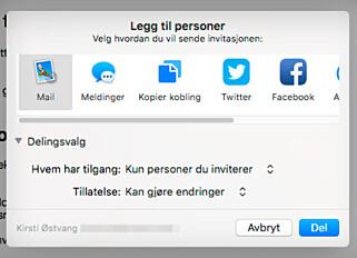 JOBB SAMMEN: Invitert andre til å få lov til å redigere Pages-dokumentet ditt. Foto: Kirsti Østvang