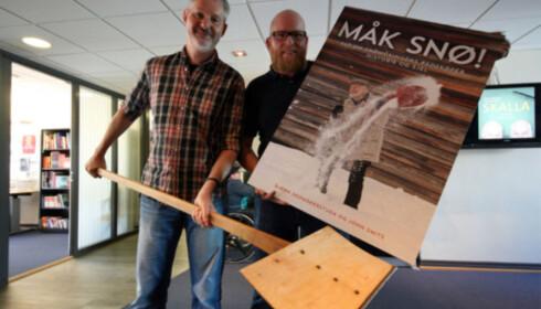 John Smits og Bjørn Skomakerstuen skrev boka «Måk snø» i 2014. Foto: Berit B. Njarga