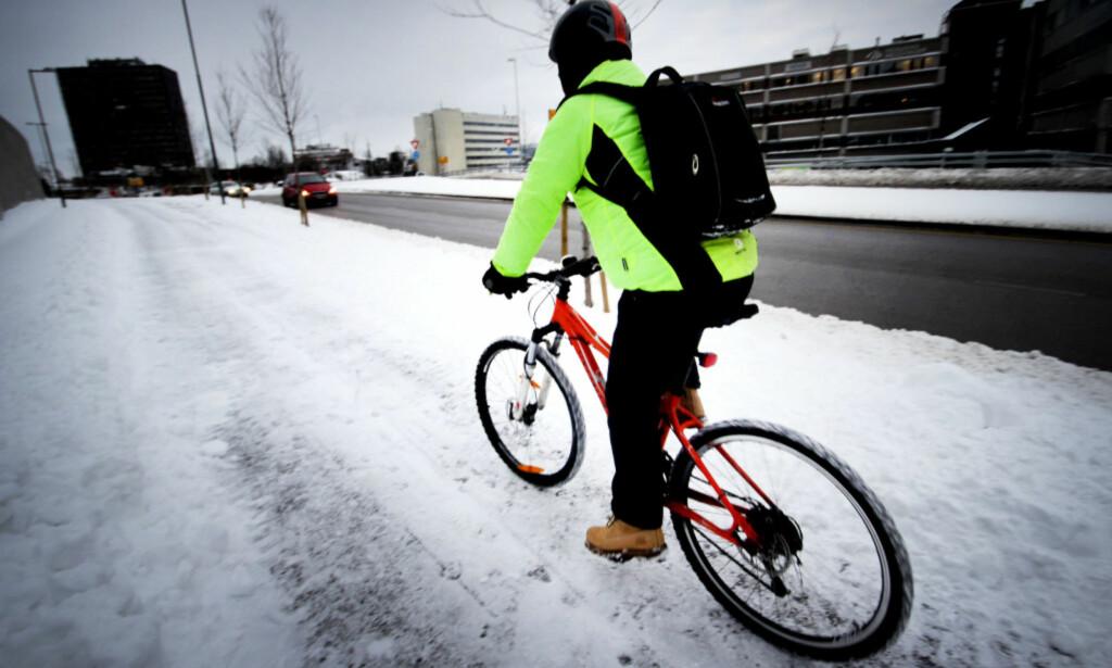 UANSETT FØRE: Å sykle har blitt en helårssport, spesielt i de større byene. Foto: Ole Petter Baugerød Stokke