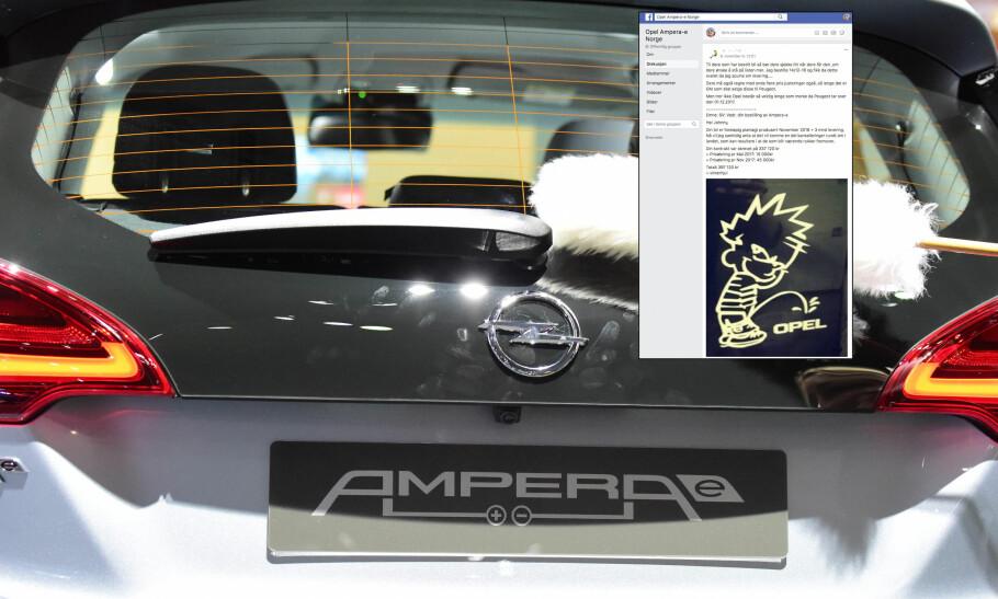 FRUSTRERTE OPEL-KUNDER: Det har stormet rundt Opel Ampera-e den siste tiden. Nå kan mange av kundene ha fått nok. Foto: AFP PHOTO/SCHWARZ Skjermdump: Facebook