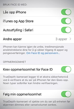 SMART TREKK: Via innstillingene kan du velge om Face ID skal kreve at du ser på telefonen før den låser opp. Skjermdump: Pål Joakim Pollen