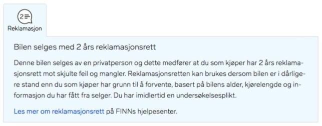 PRIVATSALG: Slik ser elementet ut i finn.nos bilannonser fra privat eier. Skjermdump: Finn.no
