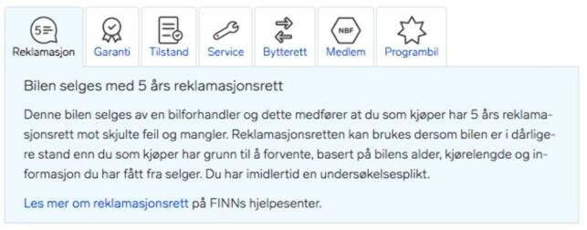 FORHANDLERSALG: Slik kan det nye elementet se ut i annonser lagt ut av en bilforhandler på Finn.no. Skjermdump: Finn.no