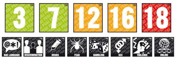 IKONENE PÅ SPILL: Her ser du PEGI sitt system for aldersgrenser på spill. I tillegg til aldrene advarer ikonene om henholdsvis banning, diskriminering, narkotika, skrekk, gambling, sex, vold og hvorvidt spillet kan spilles med andre på nett – med alt det innebærer. Illustrasjon: PEGI