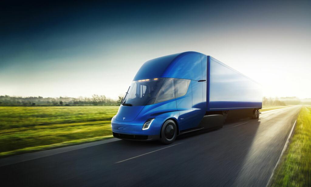 FREMTIDSTRANSPORT: Tesla hevder at det vil være 20 prosent mer lønnsomt med el-lastebil enn med tradisjonell dieseldrift. Foto: Tesla