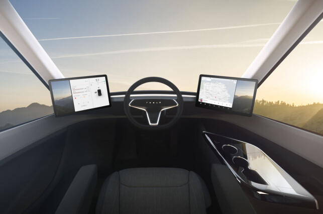 KJENT TESLA-STIL: Snart vil også lastebilsjåfører bli kjent med Teslas tekno-univers. Foto: Tesla
