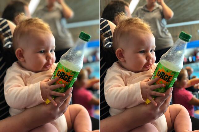 Her hadde iPhones portrettfunksjon bommet litt og fokusert på Urge-flaska, men med Focos kunne vi endre fokuspunktet til ansiktet på babyen. Foto: Pål Joakim Pollen