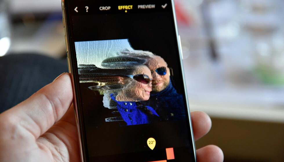 REDIGÉR I DYBDEN: Apper kan nå bruke dybdeinformasjonen fra iPhones portrettfunksjon. Det gir nye muligheter. Foto: Pål Joakim Pollen