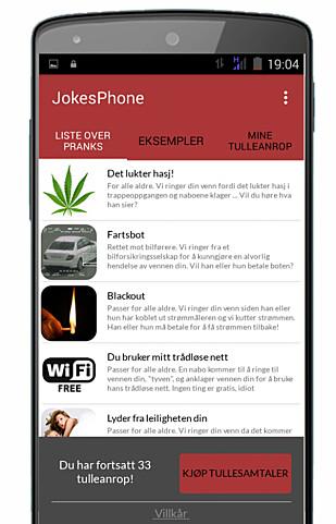 <strong>FRITT VALG:</strong> Appene som brukes lar deg velge hva slags spøk du ønsker å sende vennene dine. Disse skal dessuten være på norsk. Foto: JokesPhone