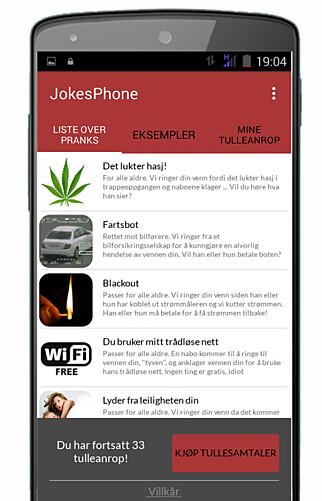 FRITT VALG: Appene som brukes lar deg velge hva slags spøk du ønsker å sende vennene dine. Disse skal dessuten være på norsk. Foto: JokesPhone