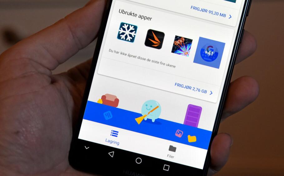 RYDD OPP: Files Go er en Android-app fra Google som finner ut hva du bør kunne slette på telefonen for å frigjøre ledig plass. Foto: Pål Joakim Pollen