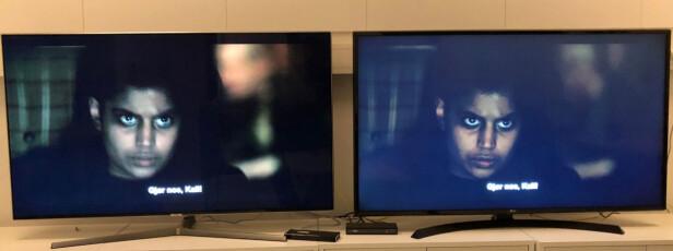 STORE FORSKJELLER: I de mørkeste scenene ser man store forskjeller i sortnivået med standardinnstillingene. Detaljer viskes også raskere bort på billig-TV-en til høyre. Foto: Bjørn Eirik Loftås
