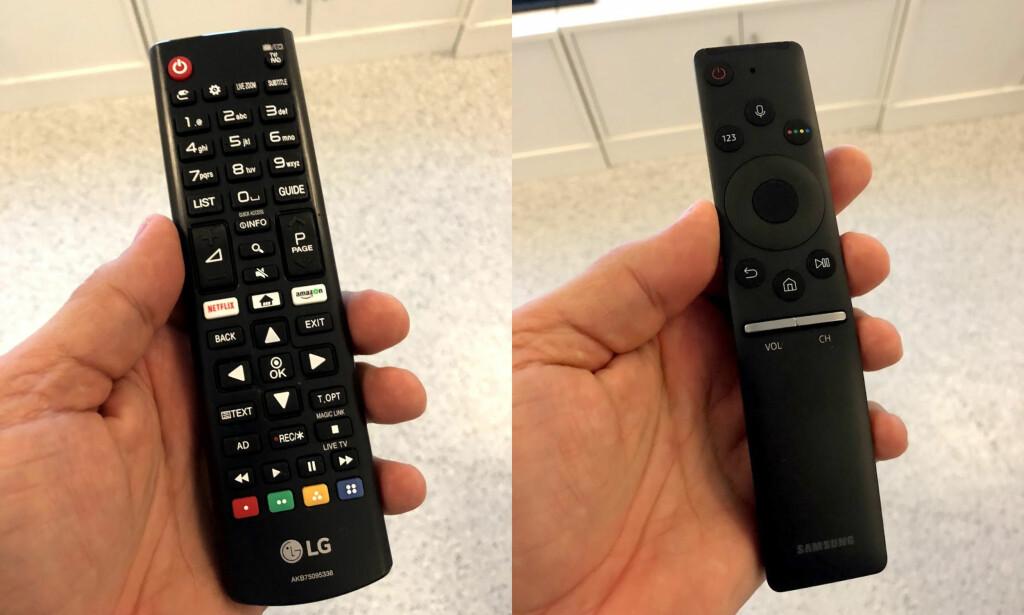 KLASSISK MOT INNOVATIVT: LG har valgt en klassisk fjernkontroll mens Samsung har gått for minimalisme. Foto: Bjørn Eirik Loftås