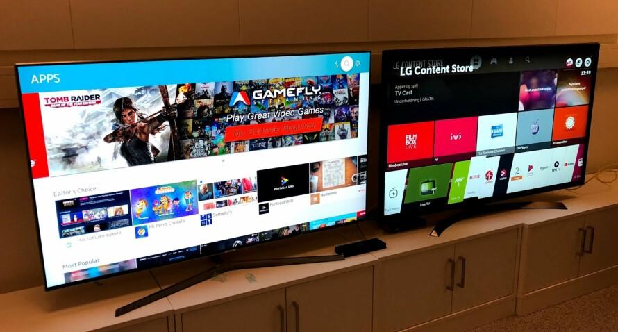 TO TV-ER, HELT FORSKJELLIGE PRISER: De er like store, har 4K-oppløsning og støtter HDR. Likevel er prisene helt forskjellige. I denne testen får du vite hvorfor. Foto: Bjørn Eirik Loftås