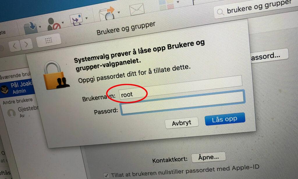 OOPS: Et nyoppdaget sikkerhetshull i MacOS gjør det lett som en plett for uvedkommende å ta full kontroll over en Mac. Foto: Pål Joakim Pollen